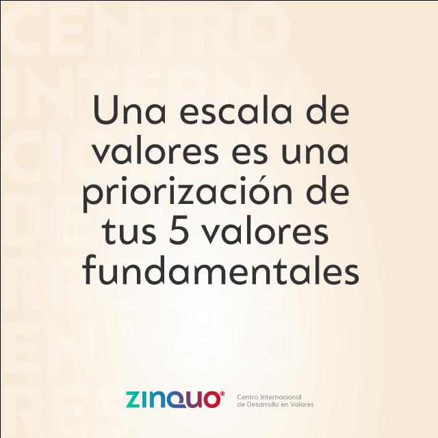 """Cita sobre tu escala de valores: """"una escala de valores es una priorización de tus 5 valores fundamentales""""."""